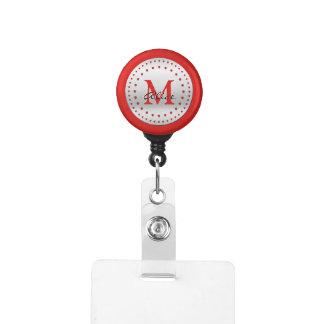 Gafete Con monograma de plata rojo fresco