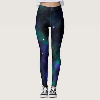 Galaxia azul y verde leggings