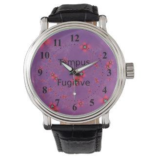 Galaxia de la flor en rojo en violeta relojes de mano