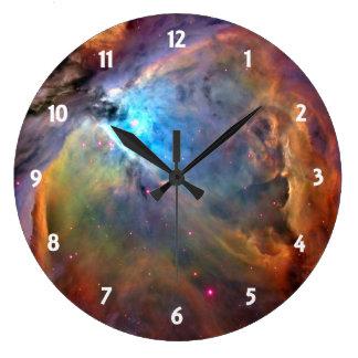 Galaxia del espacio de la nebulosa de Orión Reloj Redondo Grande