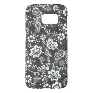 Galaxia gris S7 de Samsung de la flor del vintage Funda Samsung Galaxy S7
