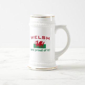 Galés orgulloso jarra de cerveza