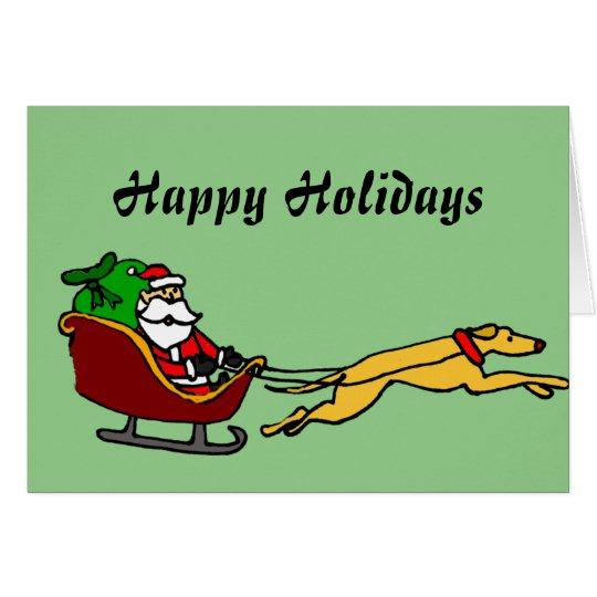 Galgo divertido que tira del trineo del navidad tarjeta de felicitación