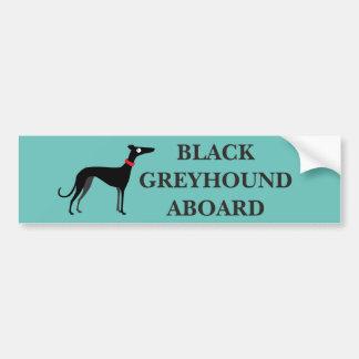 Galgo negro a bordo pegatina para coche