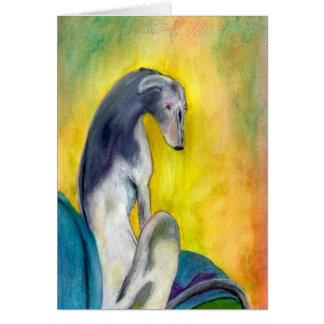 Galgo que se sienta (a394) tarjeta de felicitación