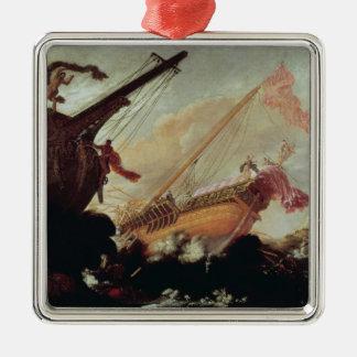 Galleons arruinó en una orilla rocosa adorno navideño cuadrado de metal