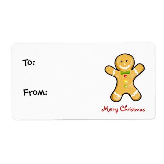 Galleta del hombre de pan de jengibre del navidad etiqueta de envío