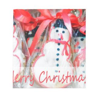 Galleta del muñeco de nieve de las Felices Navidad Bloc De Notas