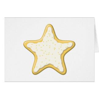 Galleta helada de la estrella. Amarillo y blanco Tarjeta Pequeña
