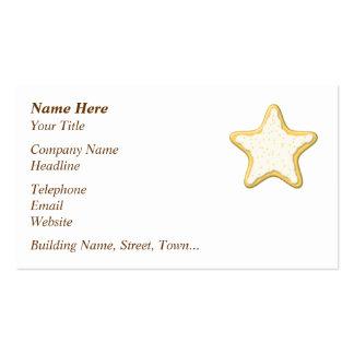 Galleta helada de la estrella. Amarillo y blanco Tarjetas De Visita
