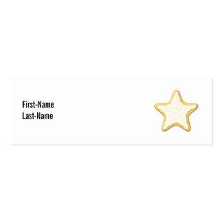 Galleta helada de la estrella. Amarillo y blanco Tarjetas De Visita Mini