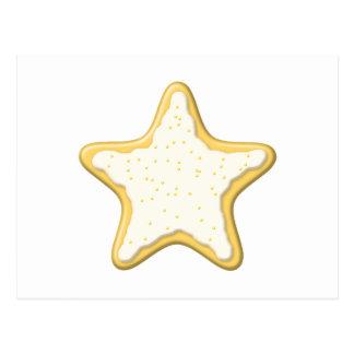 Galleta helada de la estrella. Amarillo y blanco Postal