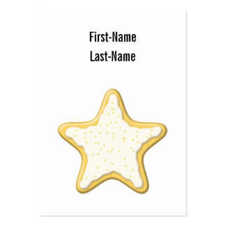Galleta helada de la estrella. Amarillo y blanco Tarjeta De Visita