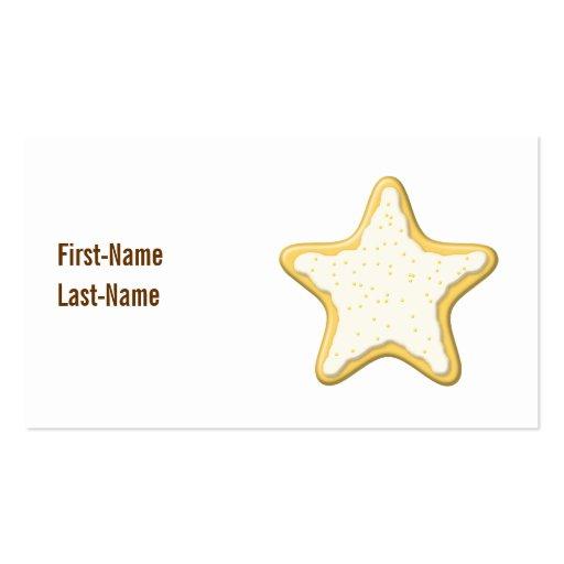 Galleta helada de la estrella. Amarillo y blanco Plantilla De Tarjeta De Negocio