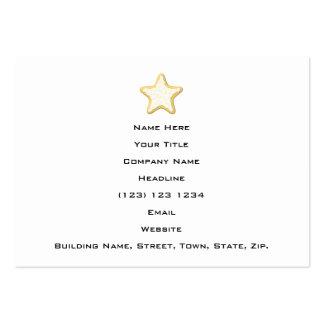 Galleta helada de la estrella. Amarillo y blanco Tarjetas Personales