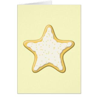 Galleta helada de la estrella. Amarillo y crema Tarjeta De Felicitación