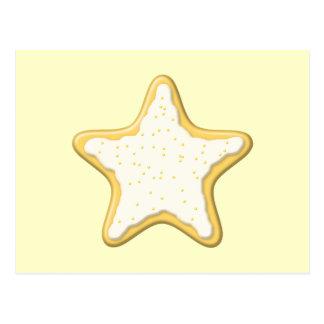 Galleta helada de la estrella. Amarillo y crema Tarjeta Postal