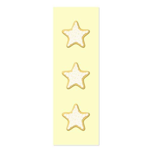 Galleta helada de la estrella. Amarillo y crema Tarjeta De Visita