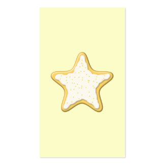 Galleta helada de la estrella. Amarillo y crema Tarjetas De Visita