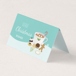 Galletas calientes de los deseos del navidad y tarjeta