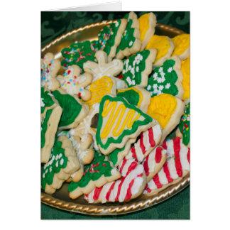 Galletas de azúcar hechas en casa heladas tarjeta de felicitación