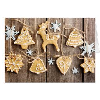 Galletas hechas en casa del pan de jengibre del na tarjeta de felicitación