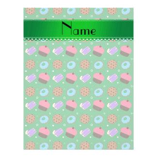 Galletas verdes conocidas de la torta de los tarjetas informativas