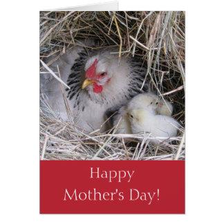Gallina de la madre con la nueva tarjeta de felici