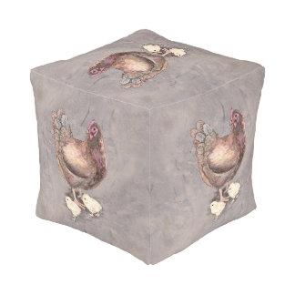 Gallina de la madre y acuarela de los polluelos pouf