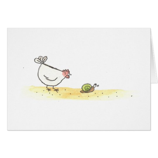 Gallina y caracol blancos tarjeta pequeña