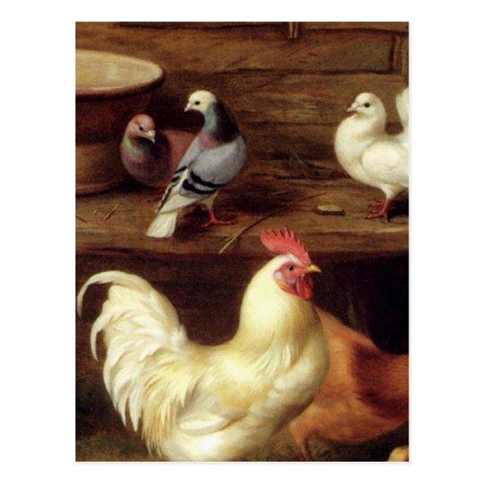 Gallina y polluelos del pollo con los animales del postal