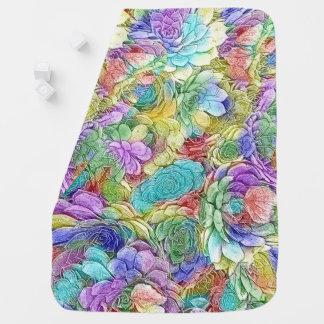 Gallinas de la naturaleza y plantas coloridas del mantita para bebé