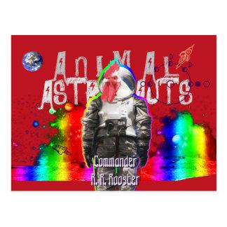 Gallo animal de los astronautas postal