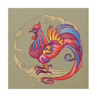 Gallo asiático impresión en madera