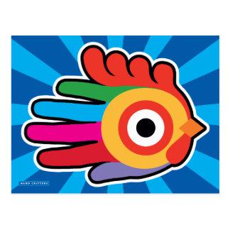 Gallo colorido de la buena mañana postal