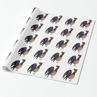 Gallo colorido salvaje papel de regalo