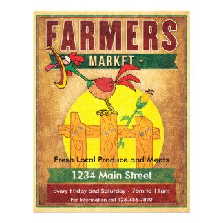 Gallo de la mañana del mercado de los granjeros flyer