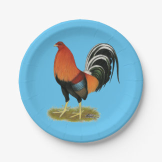 Gallo de trigo del gallo de pelea plato de papel