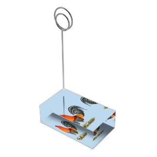 Gallo del rojo azul del gallo de pelea soporte para tarjetas de mesa