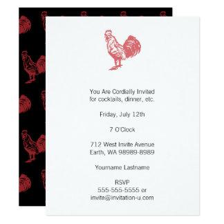 Gallo del rojo del estilo de la prensa de copiar invitación 10,8 x 13,9 cm