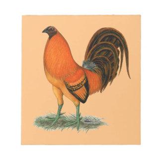 Gallo del rojo del jengibre del gallo de pelea bloc de notas