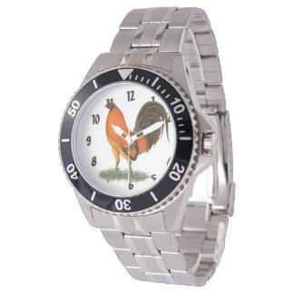 Gallo del rojo del jengibre del gallo de pelea reloj de pulsera