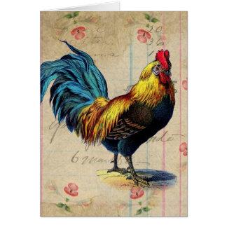 Gallo del vintage, cumpleaños tarjeta de felicitación