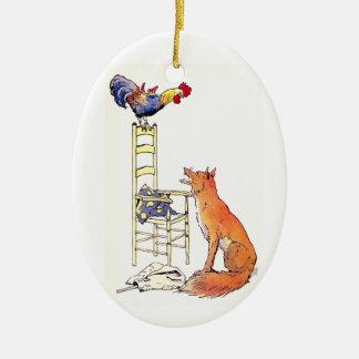Gallo en la silla que considera abajo el Fox Ornamento De Reyes Magos