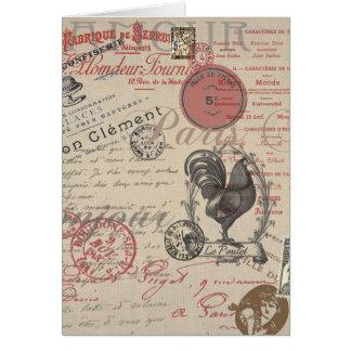 Gallo francés de París de la escritura del vintage Felicitación