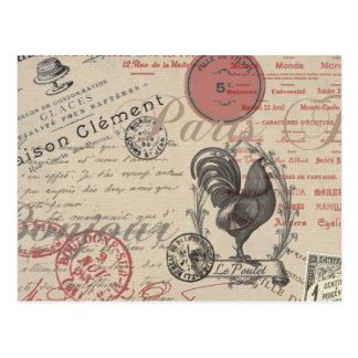 Gallo francés de París de la escritura del vintage Postal