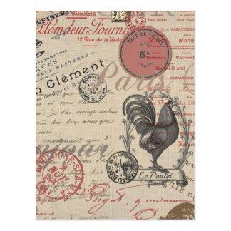 Gallo francés de París de la escritura del vintage Tarjetas Postales