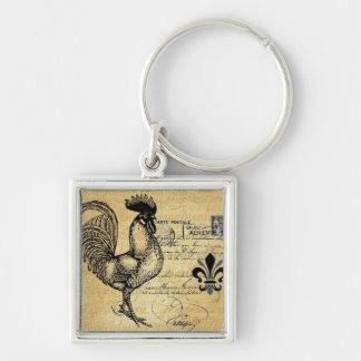 Gallo francés del vintage en la arpillera llavero cuadrado plateado