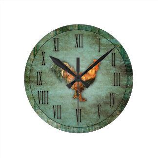 Gallo francés y falsa madera reloj redondo mediano