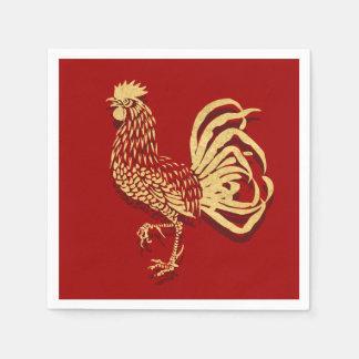 Gallo inspirado chino en rojo servilletas desechables